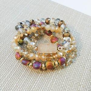 Beaded Bracelet Set With Druzy Quartz
